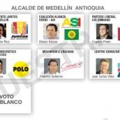 Así sería la tarjeta electoral para la Alcaldía de Medellín y la Gobernación de Antioquia