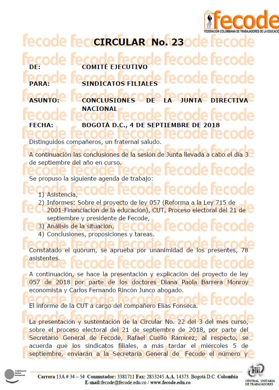Conclusiones Junta Nacional de Fecode – 5 de Septiembre de 2018