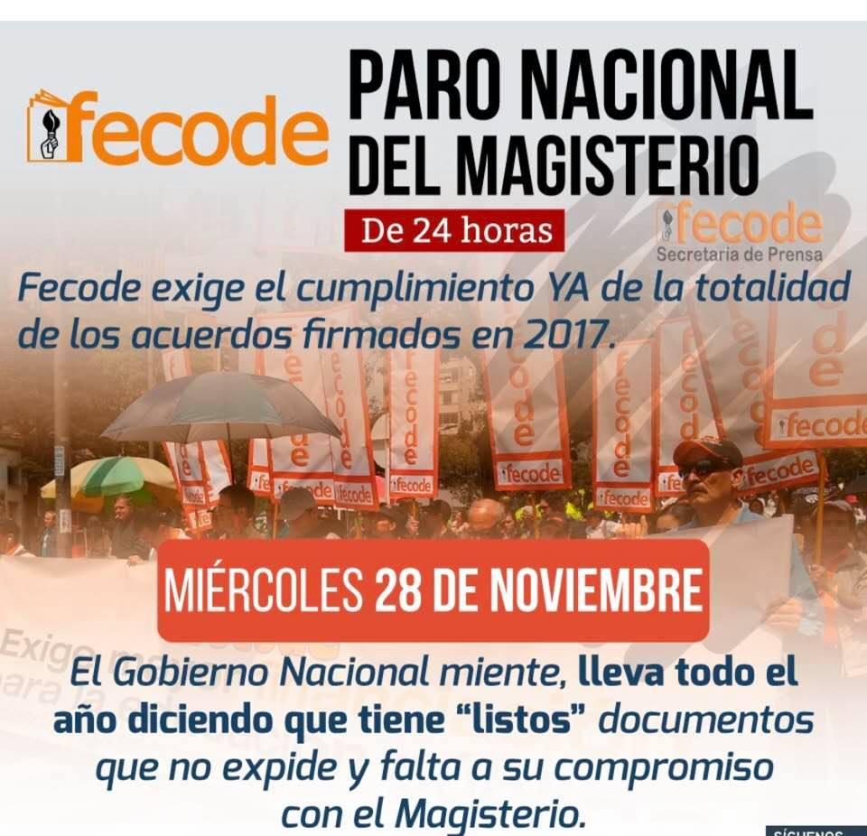 28 DE NOVIEMBRE: PARO NACIONAL DE 24 HORAS DEL MAGISTERIO