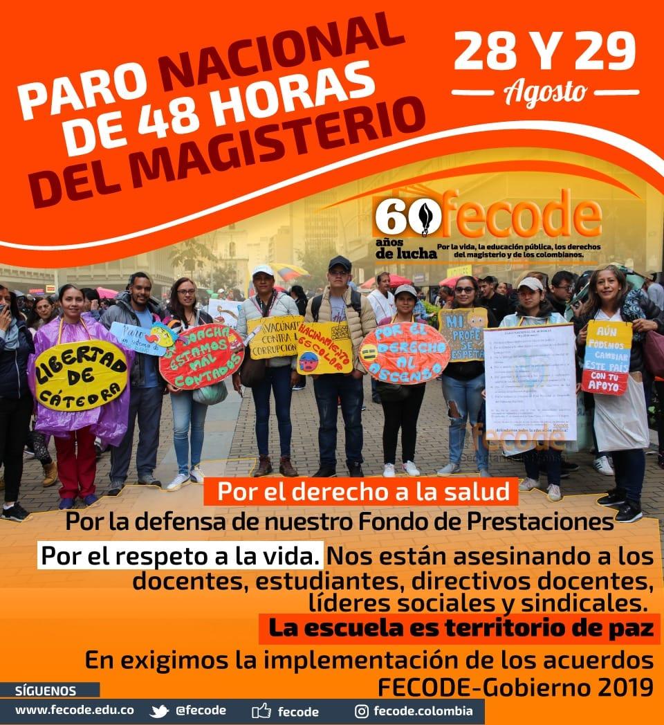 Acta de Acuerdos Paro Nacional del Magisterio de 48 horas, 28 y 29 de agosto